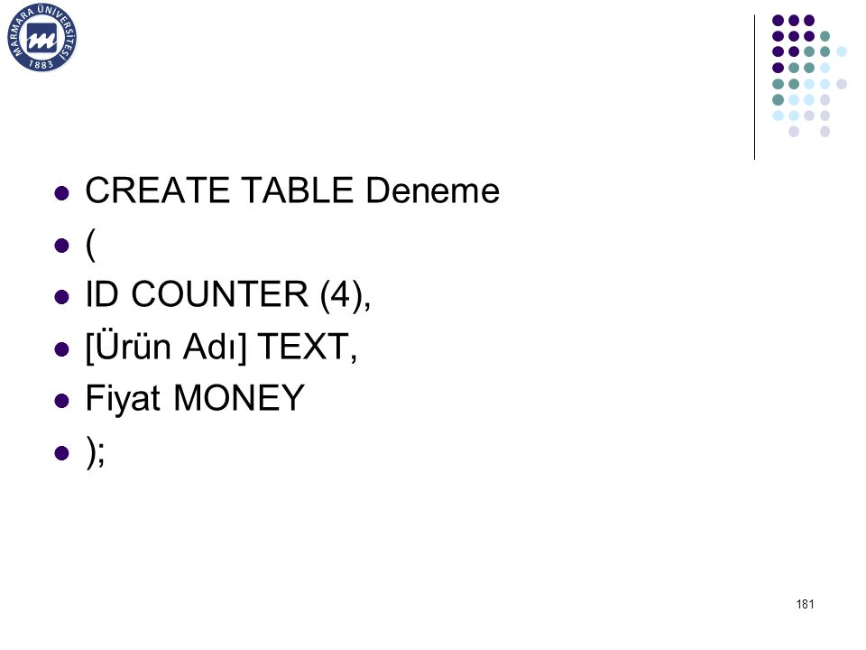 CREATE TABLE Deneme ( ID COUNTER (4), [Ürün Adı] TEXT, Fiyat MONEY );